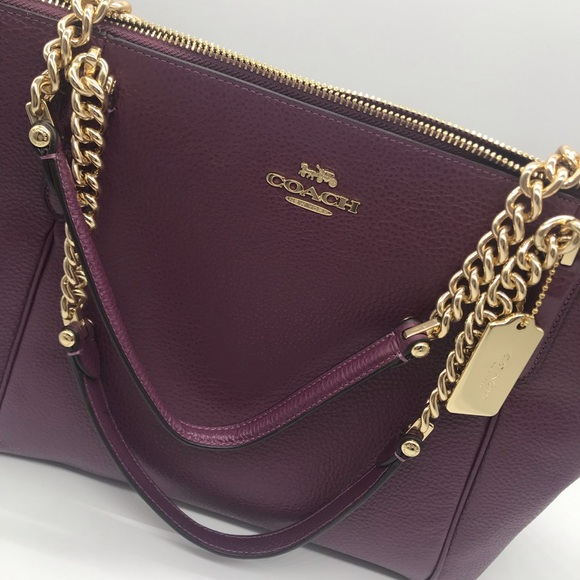 Coach Handbags - Authentic Coach Purse- Burgundy Leather Gold Chain